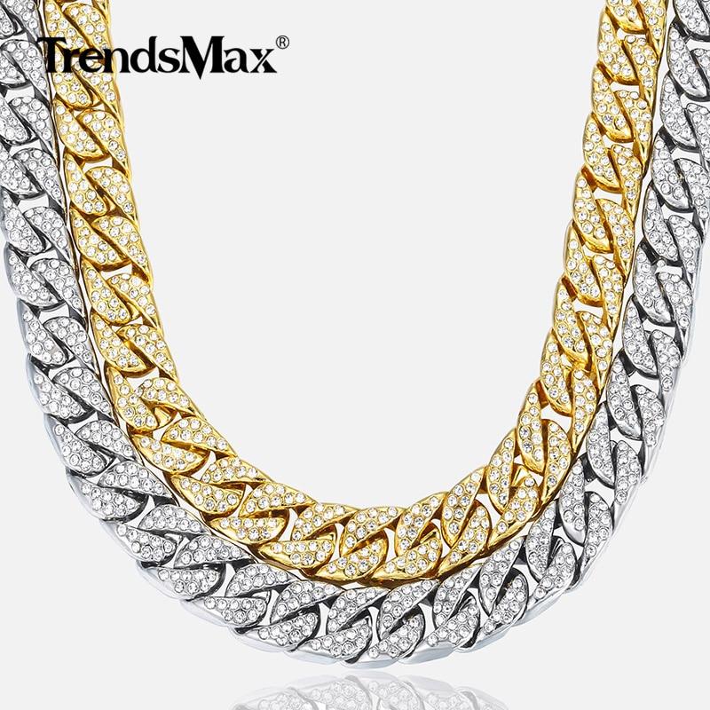 14mm collar de los Miami Cuba frenar cadena de oro de plata de Hip Hop helado pavé de diamantes de imitación CZ rapero hombre collar de la joyería GN432