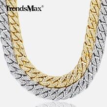 fd82fb55e276 14mm collar de los Miami Cuba frenar cadena de oro de plata de Hip Hop  helado pavé de diamantes de imitación CZ rapero hombre co.