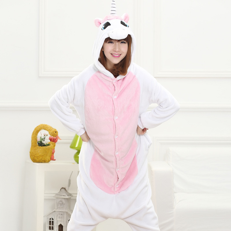c718b13d2a69 Winter Cute Cartoon Animal Pegasus Unicorn Pajamas Flannel Hooded ...