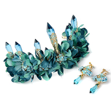 Nuevo 2017 Europeo de La Vendimia de Lujo Grande Azul Rhinestone Wedding La Corona Del Concurso Tiara Nupcial Accesorios Para el Cabello