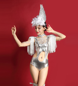 Women Nightclub Hollow Out Rivet Tassel Sexy Bodysuit Stretch Prom Party Costume Female Singer Dance Team Show Leotard DJ Outfit