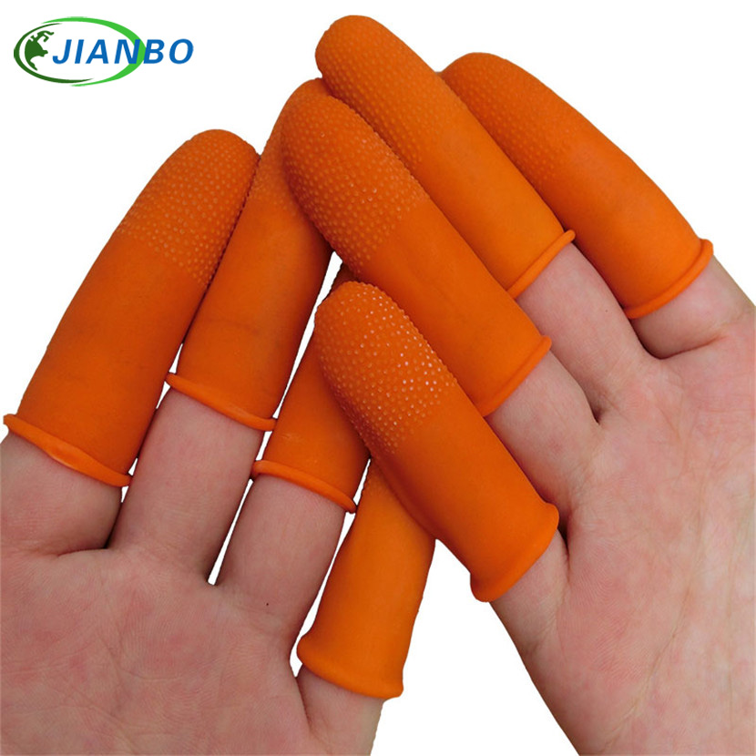 100pcs Latex Finger Golves Orange Antiskid Rubber Finger Glove Counting Nail Covers Protectors Cots Antistatic Fingertip Guards