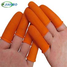 100pcs/pack 100% pure natural latex powder-free finger cot Anti static finger cots Non-slip cots color Orange ESD work Gloves