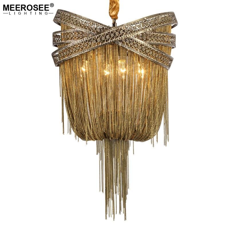 Бронза Алюминий люстра итальянский кисточкой Дизайн цепи люстры лампы висит Освещение для гостиной фойе
