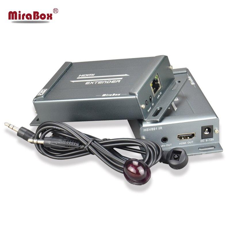 MiraBox HDMI Extender com IR Remoto over ethernet TCP IP por 150 m RJ45 Cat5 Cat5e Cat6 Splitter HDMI RI extensor de dupla entrada