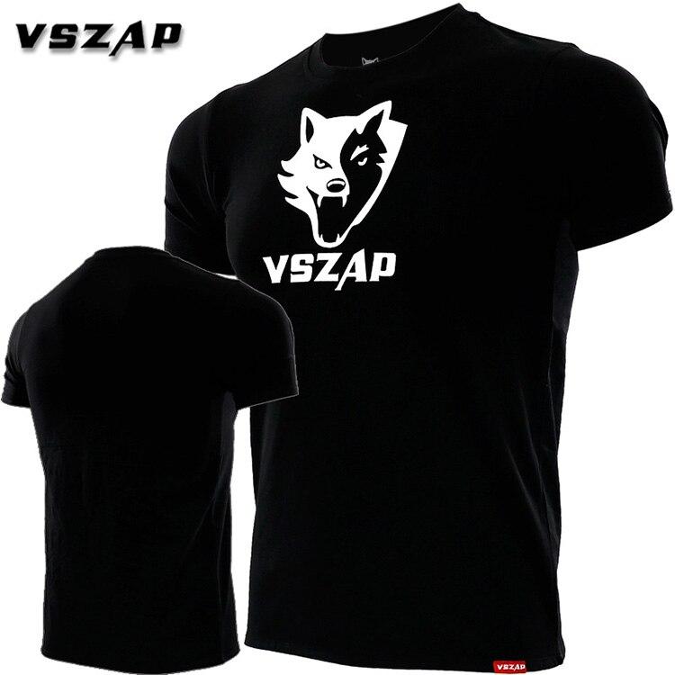 VSZAP Combat Short Sleeve T-shirt Male Pure Cotton Stretch Fitness Muscle Fight Free Combat MMA Jiu-jitsu Xiabulin Wind