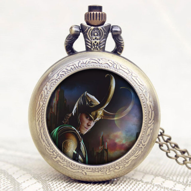 Hot Movie The Avengers Loki Design Old Bronze Quartz Pocket Watch With Chain Nec
