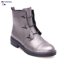 Silver Gray Low Heel Women Bling Ankle Boots High Top Lace Up Gothic Autumn Winter Short
