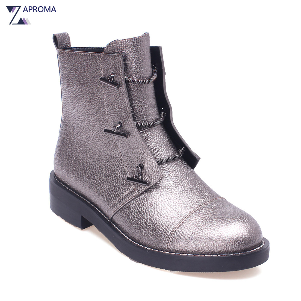 Silver Gray Low Heel font b Women b font Bling Ankle Boots High Top Lace Up