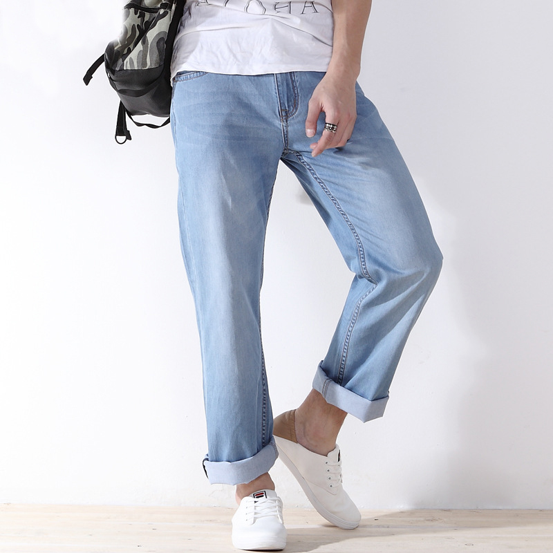 2017 Summer New Stretch Cotton Breathable Straight Fit Jeans Men Thin Summer Mens Denim Jeans Long Pants Lightweight Jeans 550