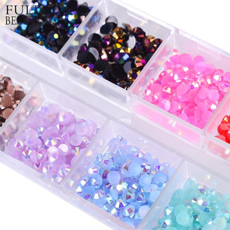12 Color Box 3mm Crystal Colorful Jelly Rhinestones 3D Nail Art Decor  Glitter Gems Stones Manicure DIY Flatback Beads CH128 EF-in Rhinestones    Decorations ... 0db12cba566e