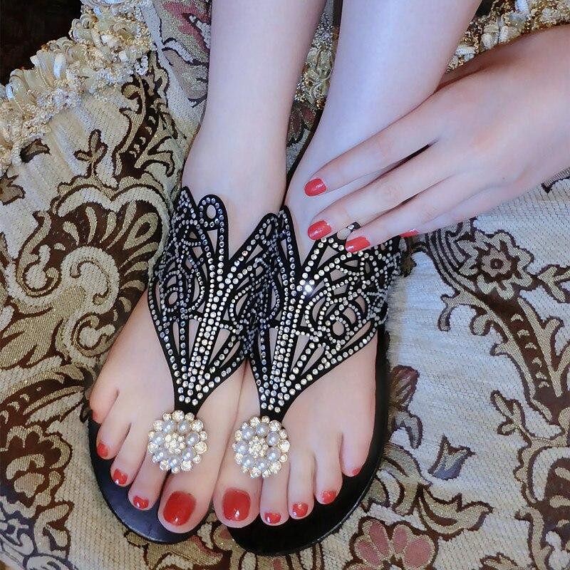 2016 Brand font b Women b font Sandals Genuine Leather rhinestone flat heel slippers High Quality