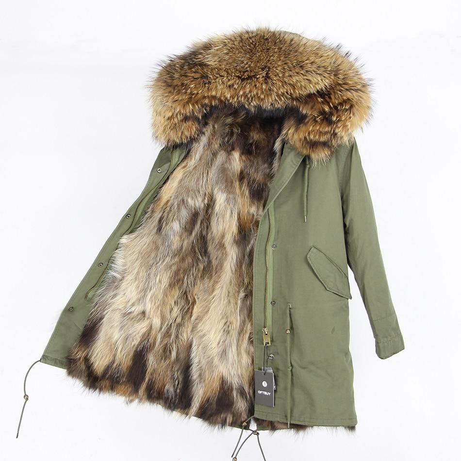2019 natürliche Fuchs Echtpelz Dicke Warme Pelz Liner Armee Grün Winter Jacke Mantel Frauen Parka Echt Große Waschbären Pelz kragen Mit Kapuze