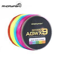 ANGRYFISH Diominate Multicolor X9 PE Line 9 splotów splotów pleciony 500m/547yds Super wytrzymała żyłka wędkarska 15LB 100LB