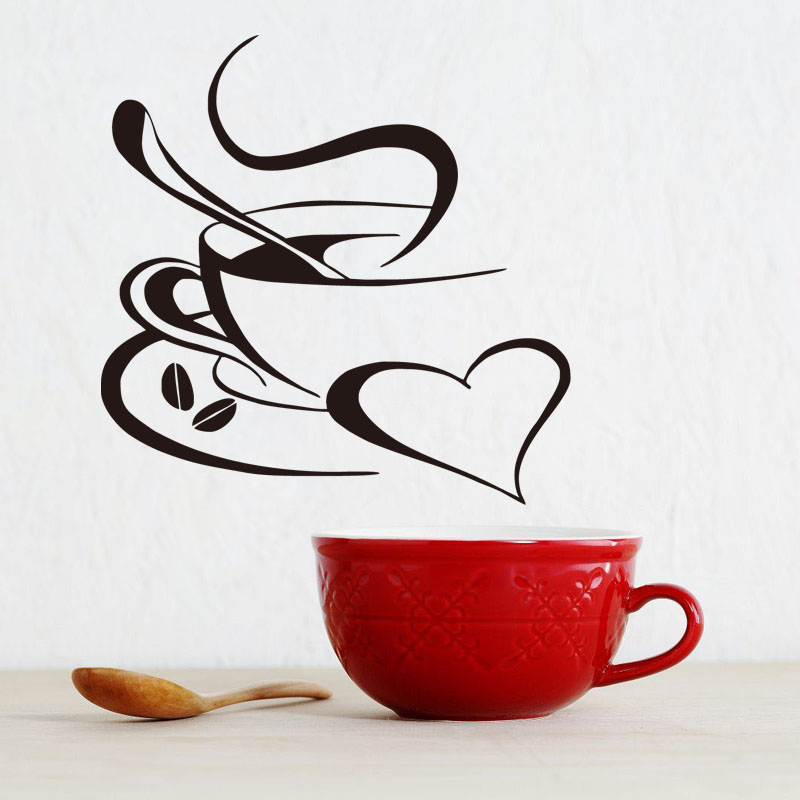 Modern Coffee And Heart Vinyl Wall Art Decals Home Decoration Wall Stickers For Kitchen Waterproof Wallpaper For Living Room