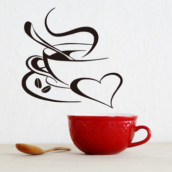 Modern Coffee And Heart Vinyl Wall Sticker For Kitchen-Free Shipping For Kitchen Living Room mirror wall stickers