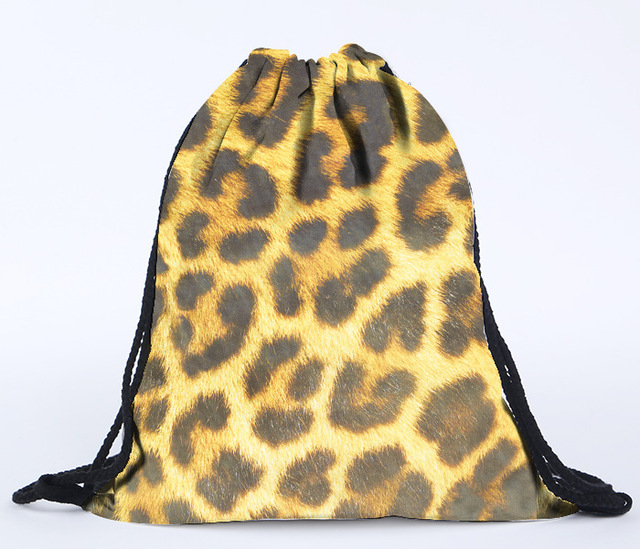 2016 hot sale fashion 3D digital printing leopard drawstring backpack  panther fur printed drawstring bag beach bag on sale