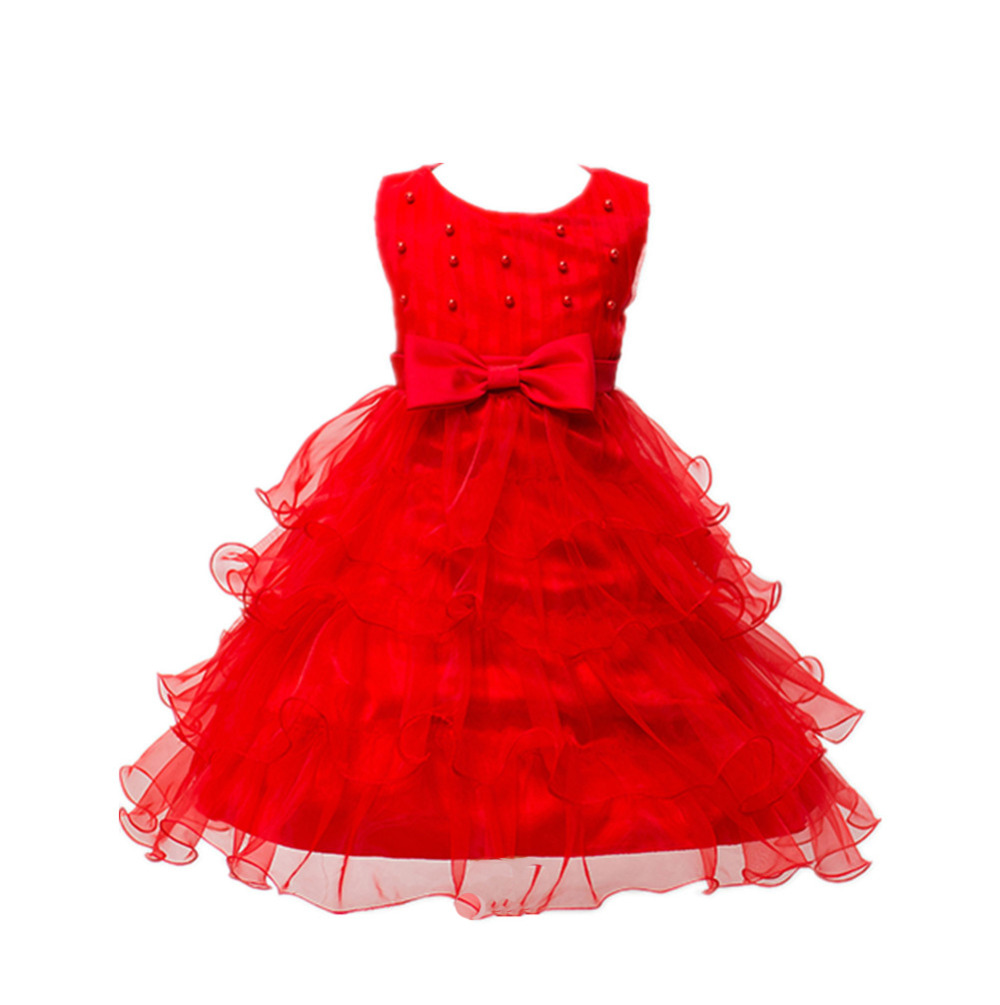 Wedding Gowns Kids Formal Party Christening Communion Girl Bow Pearl Dresses Infant Pageant for Little Girls 2-8 Years