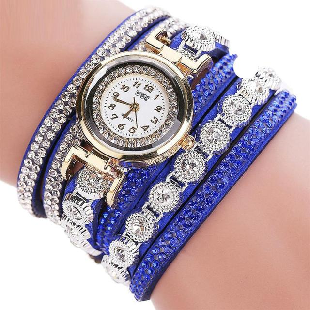 Women watches CCQ Casual Analog Alloy Quartz Rhinestone Watch Leather Bracelet Watches Gift Relogio Feminino reloj mujer  #D