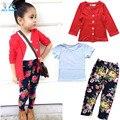 Осень девушки модная одежда набор девушка куртка + рубашка + цветочные брюки девочек 3 шт. комплект одежды детская одежда в розницу