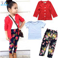 Autumn girls fashion clothes set girl jacket + shirt + flower pants girls 3 piece clothing set kids clothes retail