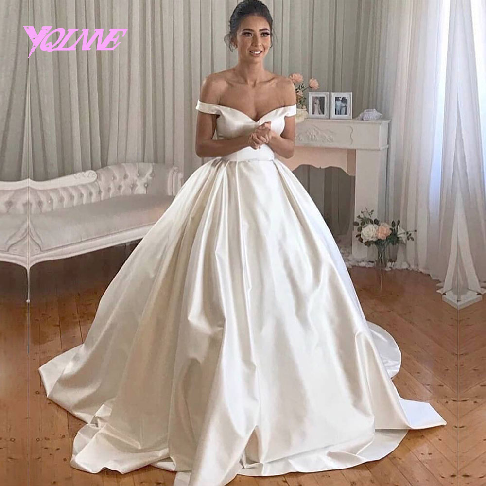 Images Of Ball Gown Wedding Dresses: YQLNNE 2018 Ivory Satin Wedding Dress Off The Shoulder