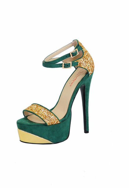 35b99e0b5dc Isastyle Peep toe stiletto women shoes high heel platform sandals Double  buckle strap Bling Glitter Colorful pumps big size15