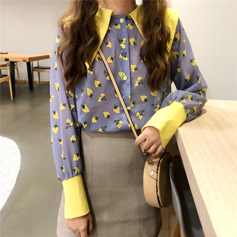 Blouses & Shirts Fashion Style Streetwear Chiffon Tops Designer Fashion Brand Spring Women Blouses Turn-down Collar Shirts French Bulldog Blusa Vetement Femme