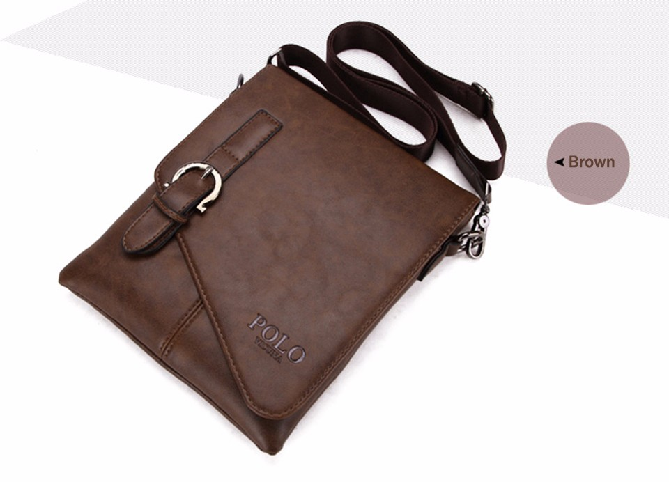 b5899b28b884 VICUNA POLO Unique Buckle Design Irregular Cover Open Mens Messenger Bag