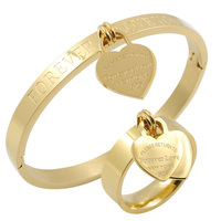 New Jewelry Brand Set Double Heart Forever Peach Love Charm Bangle Ring For Women Stainless Steel