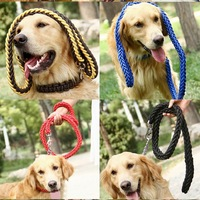 New 130cm Upgraded Color Collar Stereotyped Rope Large Dog Leashes High Quality Pet Traction Rope Collar