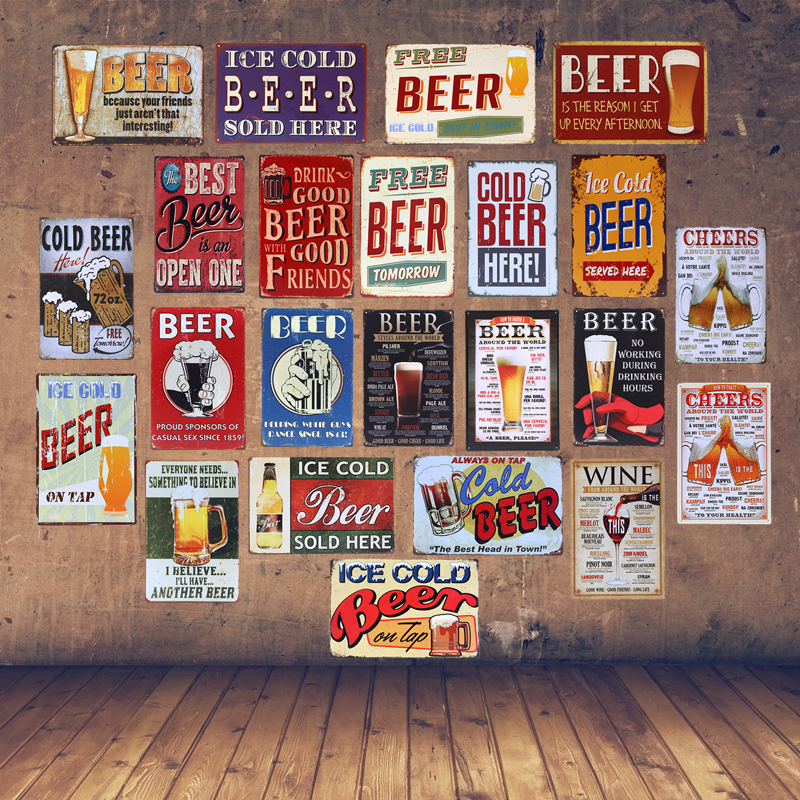 Beer Themed Towels: New Fashion Ice Cold Free Drink Beer Theme Metal Tin Signs