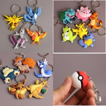 New 3D Pocket Monster Pikachu Keychain Key Holder Pokemon Go Key Ring Pendant Anime Poke Ball