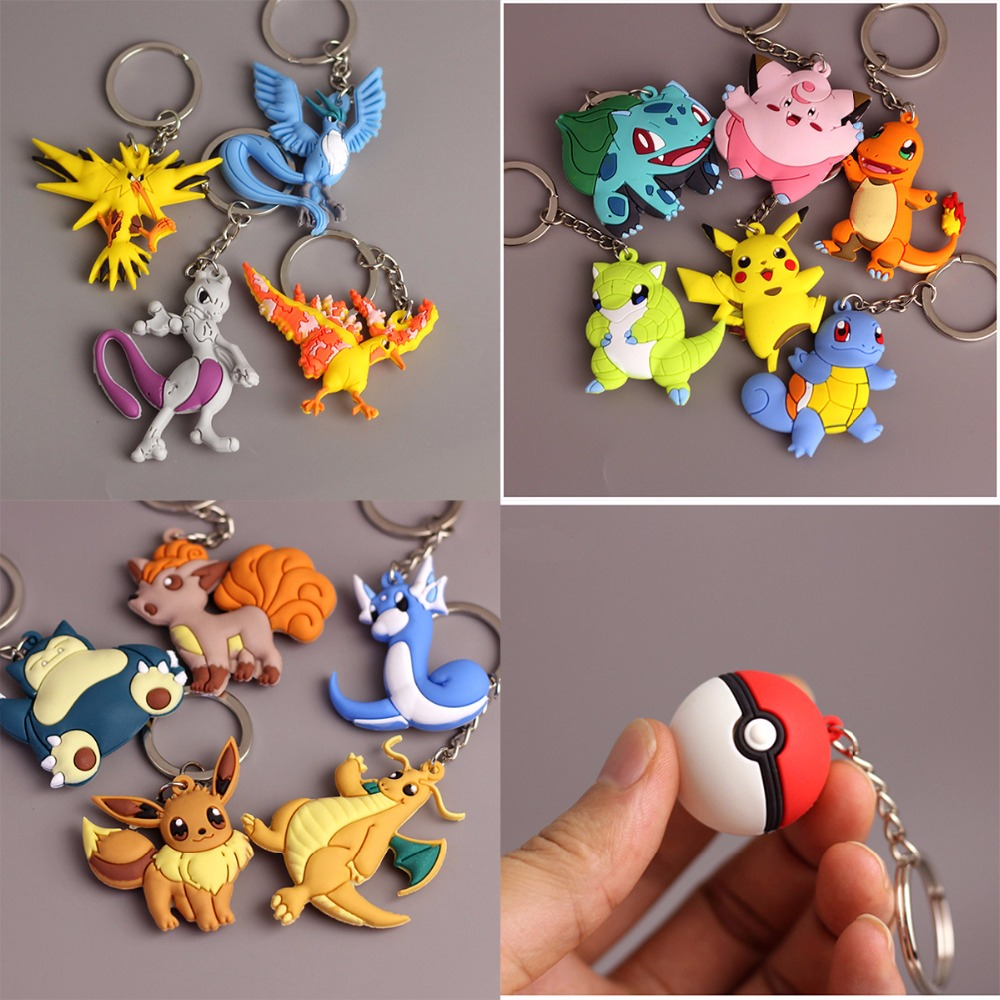 New Pocket Monster Pikachu Keychain Key Holder Pokemon Go Key Ring Pendant Anime Poke Ball