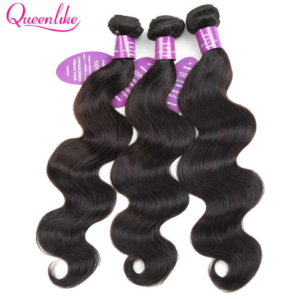 Queenlike Hair Products 3 4 Bundle 100% Human Hair Weave Bundles Remy Hair Extensions Peruvian Body Wave Bundles