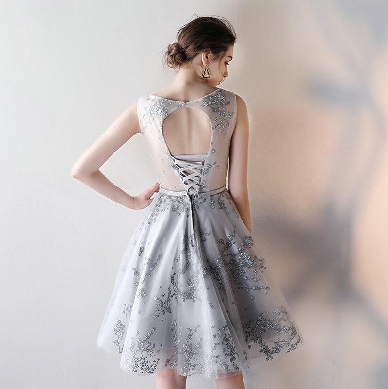 vestido curto Silver Lace Short Prom Dresses 2018 New Ballkleider ... f7dd67bd107e