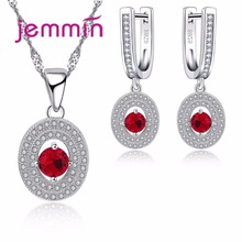 Jemmin 925 Sterling Silver Jewelry Sets For Women Wedding Red Ruby Stones White CZ Earrings Necklace Pendant Set Fashion Jewelry