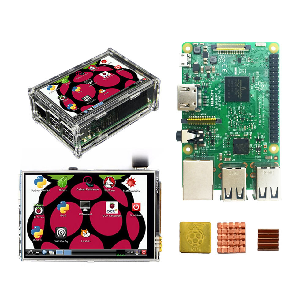 Raspberry Pi 3 Starter Kit Original Raspberry Pi 3 + 3.5 inch Touchscreen + Acrylic Case + Heat Sink rs uk raspberry pi 3 3 5 inch hdmi touchscreen display acrylic case 2 5a power adapter copper aluminum heat sink for rpi3