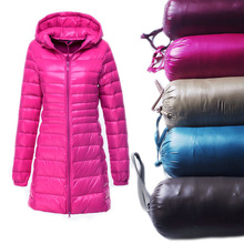 Autumn Winter Women Ultra Light Down Jacket Warm White Duck Down Parkas Long Hooded Thin Lightweight Coat Plus Size S~6XL SF497