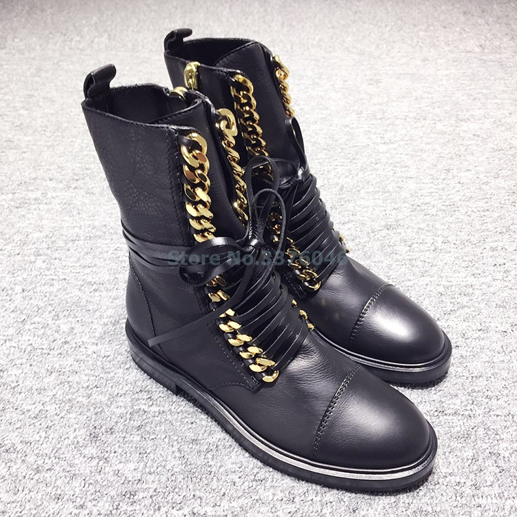 New Black PU Leather Cross Strap Lace Up Motorcycle Boots Gold Metal Chain Flat Heel Ankle Boots Side Metallic Zip Casual Shoes panel design zip up pu leather jacket