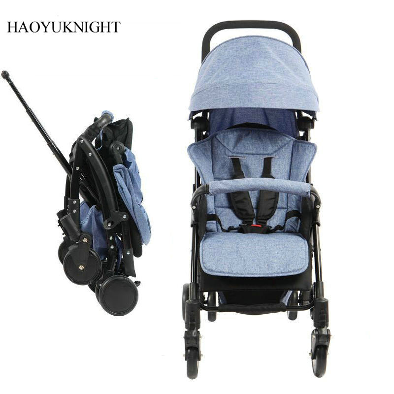 Hao YuKnight Baby Stroller Four Wheel Trolley Can Be Sitting Down Folding Shock Baby Baby Trolley Lightweight Stroller high profile baby trolley ultra light can be lying down two way four wheel shock baby trolley