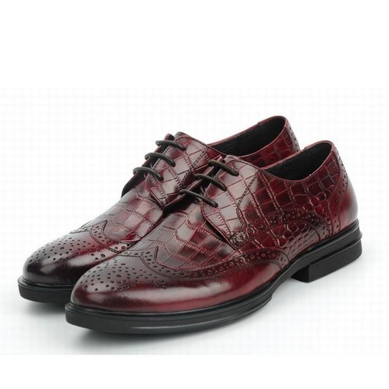 fashion genuine leather men shoes zapatos hombre zapatillas mens casual business dress shoes lace up plaid party plus size 45
