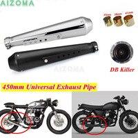 Motorcycles Exhaust Pipe w/Bracket DB Killer Universal Reverse Cone Mufflers For Suzuki Yamaha Kawasaki British Cafe Racer