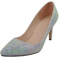 Свадебная обувь со стразами на шпильках, танцевальная обувь для подружки невесты с кристаллами, женская обувь с острым носком на высоком ка