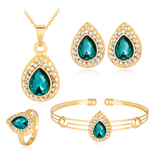 Купить с кэшбэком Fashion Rhinestone Jewelry Set For Women Necklace Earrings Braceletlets For Women Summer Valentine'S Day Gifts Costume Jewelery