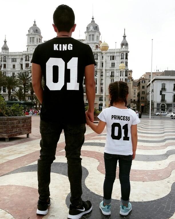 BKLD New 100% Cotton Matching T shirt King 07 Queen 07 Prince Princess Letter Print Shirts,Casual Men/Women Lovers Tops Newborn 13
