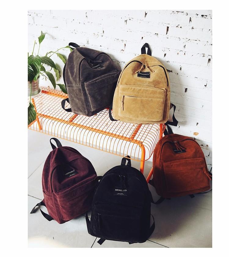 2016 New Women Backpack Preppy Style Suede Backpacks Teenage Girls School Bags Vintage Rivet Travel Backpack Burgundy Gray Black (57)