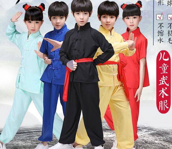 Home Hot 2017 Children Traditional Wushu Costume Martial Arts Uniform Kung Fu Kids Boys Girls Stage Performance Clothing Ambestparty