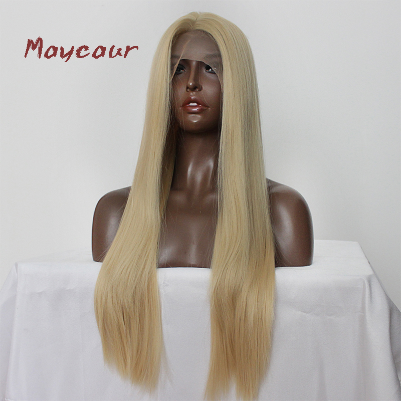 Maycaur Blonde Hair Lace Front Wigs Long Straight Color 613# Synthetic Lace Wigs-in Synthetic Lace Wigs from Hair Extensions & Wigs