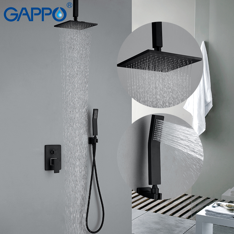 GAPPO Shower Faucets black wall mounted rainfall bathroom concealed shower mixer taps bathtub rain shower set 8 led bathrome bathtub rainfall shower head polished wall mounted swivel mixer taps shower faucets set chrome finish